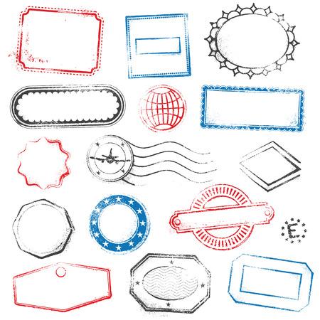 Un haut niveau de détail un jeu de timbres génériques et vides appropriés pour les conceptions graphiques de voyages, d'électronique, des offres promotionnelles et plus.