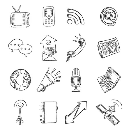 sketch book: A set of 16 pencil drawn communications icons, from the more traditional communication themes to the latest technologies.