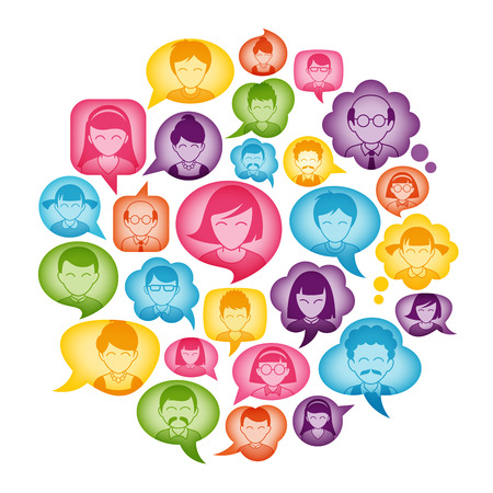 speech bubble: Composition of Cartoon Avatars placed inside colorful bubbles. Great for communication and social Concepts Illustration