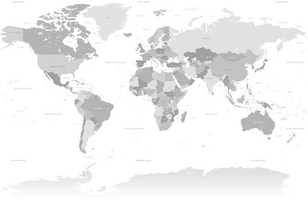A High Detail vector Map set composed by a full map of the world in grey colors. All countries are named with the respective english name with country capitals, major cities, lakes and seas. Stock Illustratie