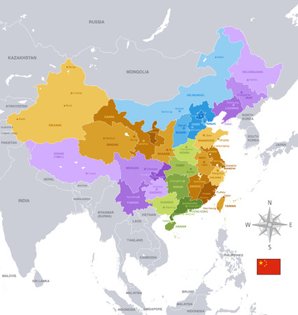 A High Detail vector Map of the Peoples Republic of Chinas Regions and major cities.  All elements are separated in editable layers clearly labeled.
