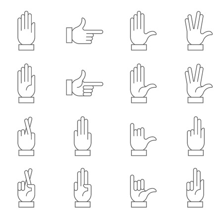 symbol of peace: A collection of hand signs, precise, with a modern and rounded style. Illustration