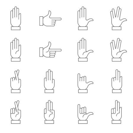 simbolo della pace: Una raccolta di segni mano, preciso, con uno stile moderno e arrotondato.