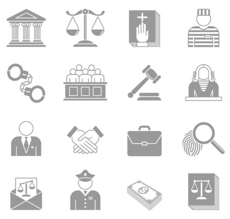 legal system: An original collection of 16 Law and Enforcement Icons.