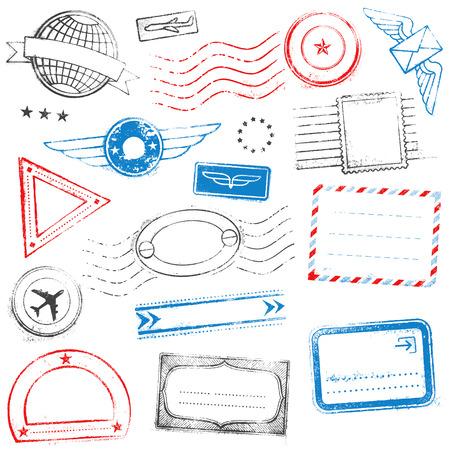 혼합 된 높은 품질의 여권 스탬프 디자인의 컬렉션입니다.