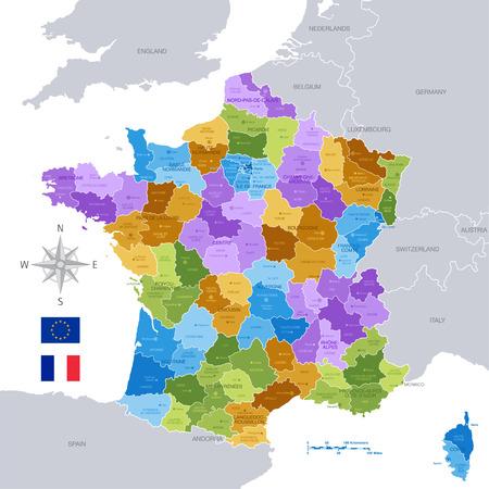 프랑스 지역, 부서 및 주요 도시의 높은 세부 벡터지도. 모든 요소는 명확 하 게 레이블이 편집 가능한 레이어 구분됩니다. 일러스트