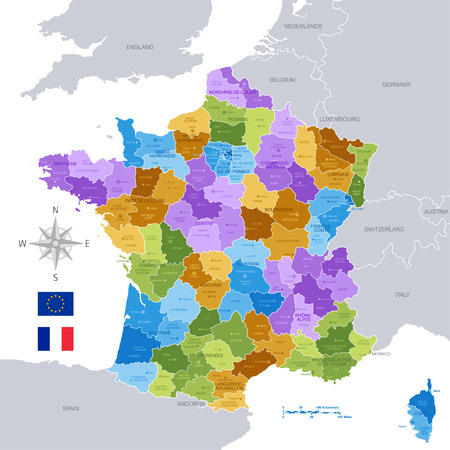 A High Detail vector Map of France Regions, Departments and major cities.  All elements are separated in editable layers clearly labeled.