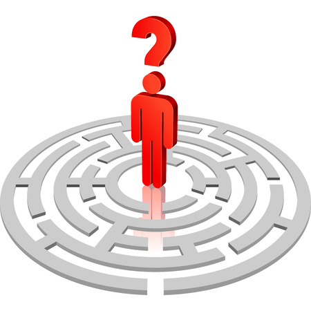 men standing: A rounded 3D maze with a lost men standing in its center. Illustration