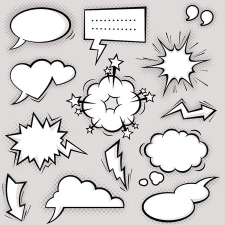 wolken: Eine Sammlung von lustigen Comic-baloons für Reden und auch Sound-Effekte. Illustration