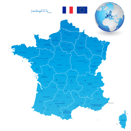 regions: A High Detail vector Map of France Regions, Departments and major cities, and an earth globe centered on France.  All elements are separated in editable layers clearly labeled.
