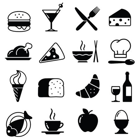 aperitif: A collection of funny Icons regarding all type of foods and drinks Illustration