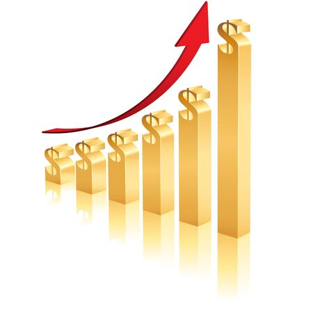 height chart: A Business Graph showing an increase in profits using 3D gold bars topped by a dollar symbol