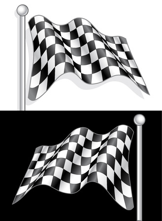 checked flag: A High Quality Vector with 3D effect Checkered Flag on both white and Black background.
