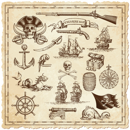 A collection of very high detail ornaments designed to illustrate vintage or treasure maps or othe designs related to vintage travels or pirates. Иллюстрация