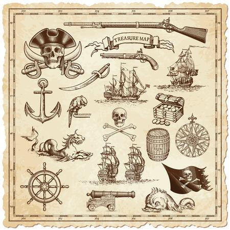 """Une collection d'ornements de détail très élevés destinés à illustrer vintage ou cartes """"trésor"""" ou dessins Othe liés aux voyages ou pirates vintage. Banque d'images - 43266231"""