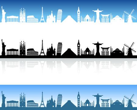 Skyline Illustration of famous places around the world Stock Illustratie