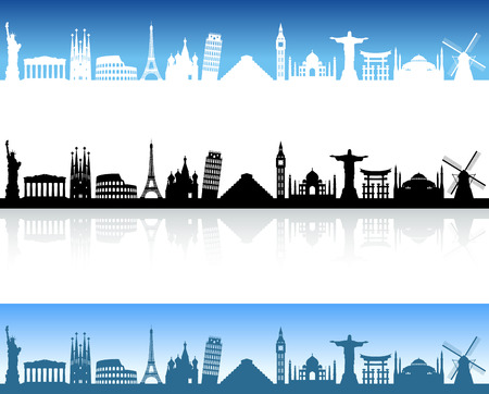 Skyline Illustration of famous places around the world Vettoriali