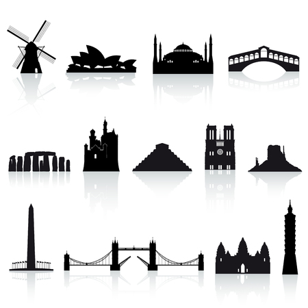 monument valley: A collection of vector icons of famous places around the world