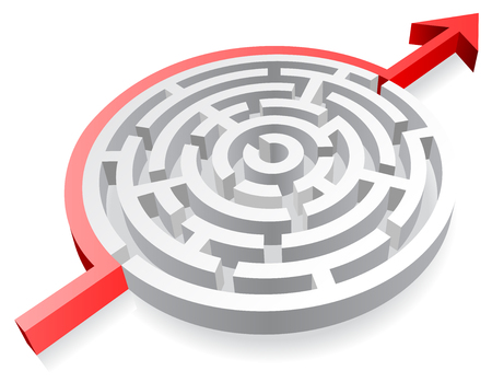 walled: Vector illustration of a 3D rounded, thick walled Maze, Avoided by a red line ending with an Arrow. Illustration