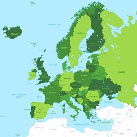 european map: High Detail Green Vector Map centered on Europe.  All elements are separated in editable layers clearly labeled. Illustration