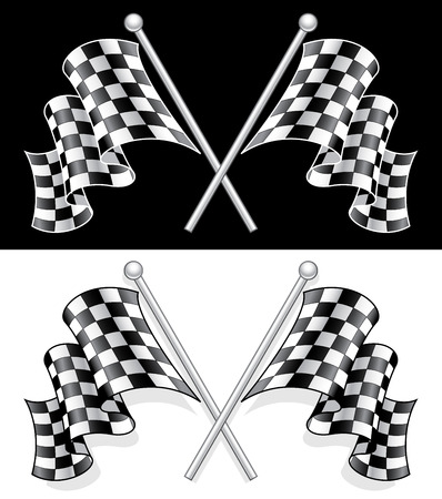 A Vector High Quality double 3D Checkered Flag on both white and Black background. Illustration