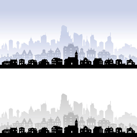 viewpoints: Vector skyline of an imaginary city, with houses in the front, buildings in the middle and skyscrapers in the back level