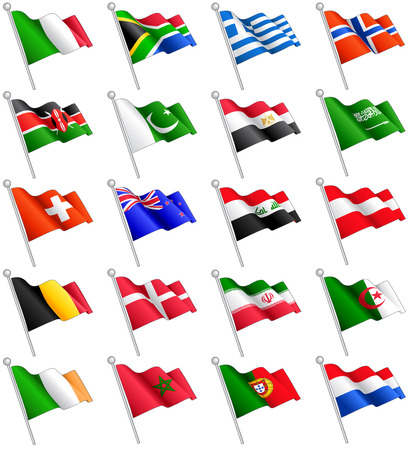 flags of the world: A set composed by the flags of 20 of the most important countries around the world. Illustration