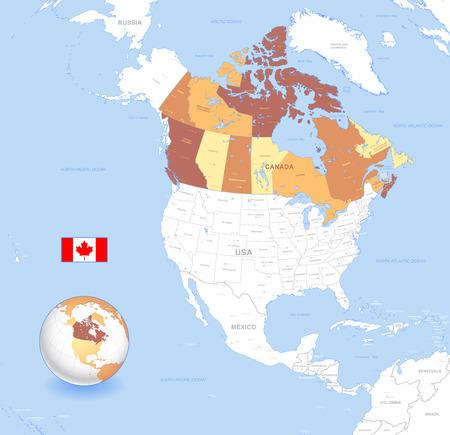 terranova: A High Particolare vettore Mappa di Canada, con capitali e grandi citt�, un globo 3D centrato sul Nord America con il Canada Evidenziato e Canada bandiera. Anche tutti i mari ei grandi laghi sono chiamati. Vettoriali