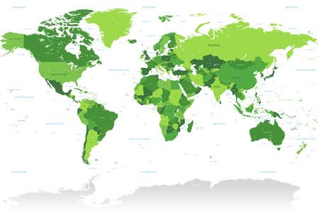 Un Alto Detalle del vector Mapa del mundo en tonos de verde. Todos los países se nombran con el respectivo nombre de Inglés. Ilustración de vector