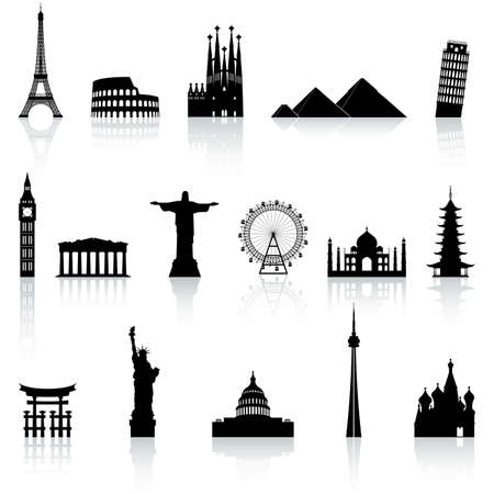 big ben tower: A collection of icons of famous places and monuments around the world