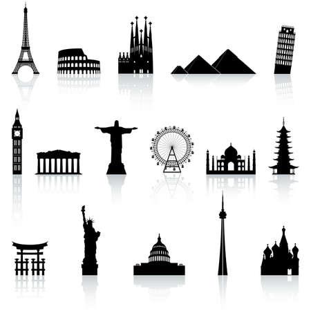 Barcelona: Une collection d'icônes de lieux célèbres et monuments à travers le monde