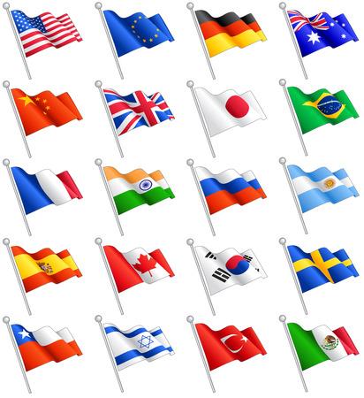 유럽 연합 (EU) 플래그 등 세계에서 가장 중요한 국가, 20의 플래그로 구성 세트. 일러스트