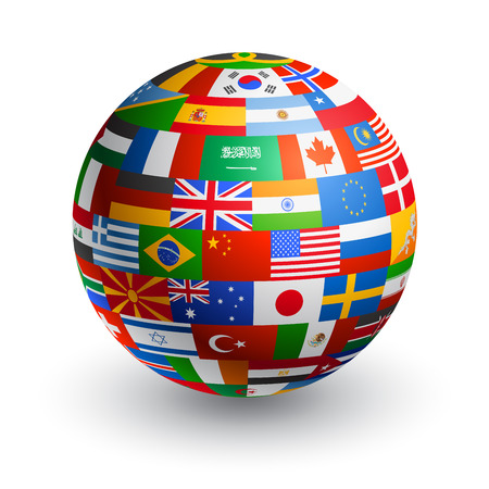 spanish flag: A 3D globe composed by the flags of the most important countries in the world