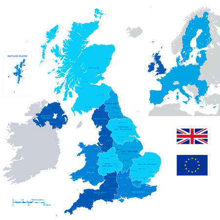 physical geography: A High Detail vector Map of United Kingdom Regions, Administrative Regions and major cities and a Minimap with Great Britain and UE highlighted. Illustration