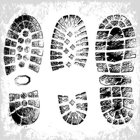 boot print: A composition of three high detail grunge shoe tracks Illustration
