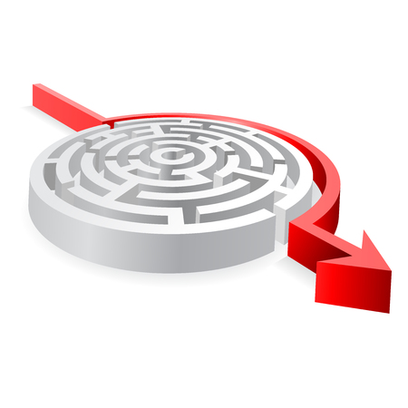 walled: A 3D rounded, thick walled Maze, Avoided by a red line ending with an Arrow. Illustration