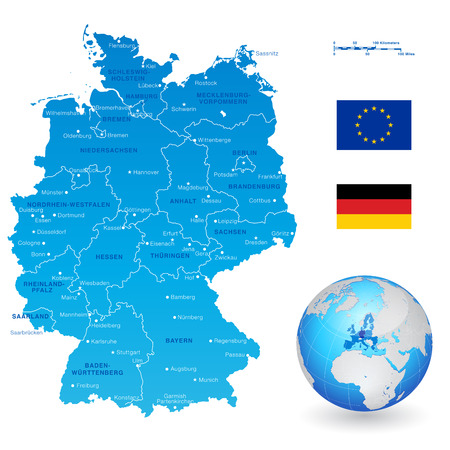 digitally generated image: A High Detail vector Map of Germany States and major cities, with a 3D Globe centered on Germany and both Eu and Germany flags. Illustration