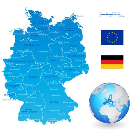 Ein High Detail Vektor-Karte von Deutschland Staaten und Großstädten, mit einem 3D-Globus zentriert auf Deutschland und der EU und Deutschland-Flaggen.