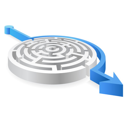 walled: A 3D rounded, thick walled Maze, avoided by a blue line ending with an Arrow Illustration