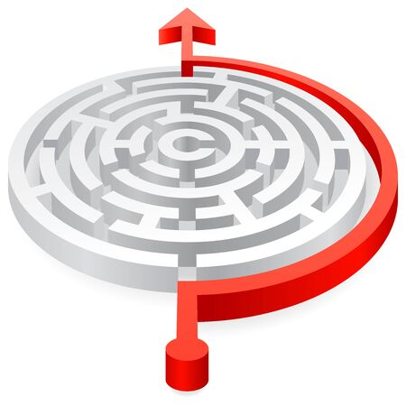 solved maze puzzle: A 3D rounded, thick walled Maze, avoided by a red line ending with an Arrow Illustration