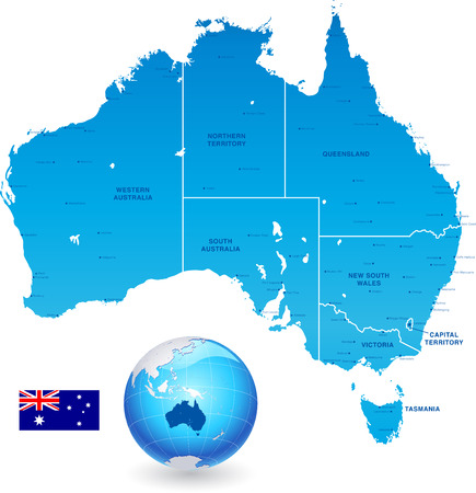 High Detail vector Map of Australia, with states and major cities, a 3D Gloge of the earth centered on Australia and The Australia Flag.