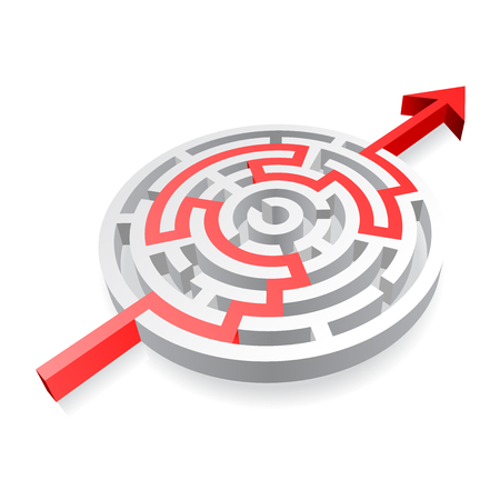 walled: A 3D rounded, thick walled Maze, solved by a red line ending with an Arrow