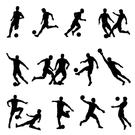 Collection of high detail adult male soccer player vector silhouettes.