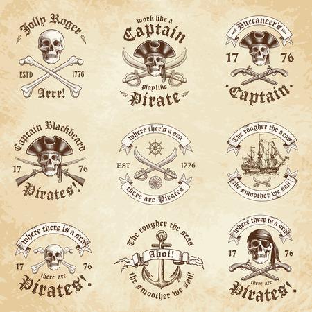 calavera caricatura: Colecci�n de nueve Pirata y Insignias con una mirada vendimia de Grunge Vectores