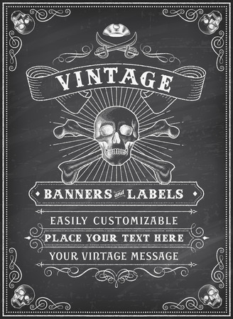 pirate flag: Vintage Looking Invite Template for a Party or Event with Death or Pirate Theme on a chalkboard background