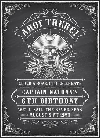 fallecimiento: Vendimia que mira Invitar Plantilla para una fiesta o evento con la muerte o pirata Tema sobre un fondo de pizarra