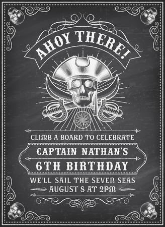 grunge skull: Vintage Looking Invite Template for a Party or Event with Death or Pirate Theme on a chalkboard background