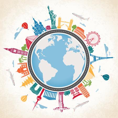 Vector Illustration einer Erde-Kugel von bunten berühmten Sehenswürdigkeiten und Verkehrsmittel umgeben auf einem grunge Hintergrund