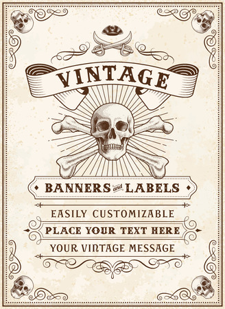 retro styled: Vintage Looking Invite Template for a Party or Event with Death or Pirate Theme