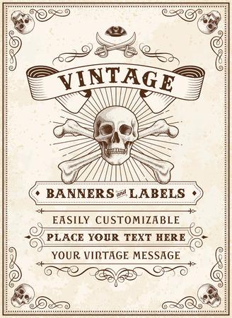 drapeau pirate: Vintage Looking Inviter modèle pour une fête ou un événement avec la mort ou Pirate Thème